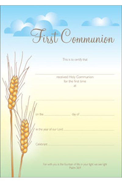 First Communion Certificate (Wheat)