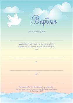 Baptism Certificates Pack Of 10 A5 Certificates
