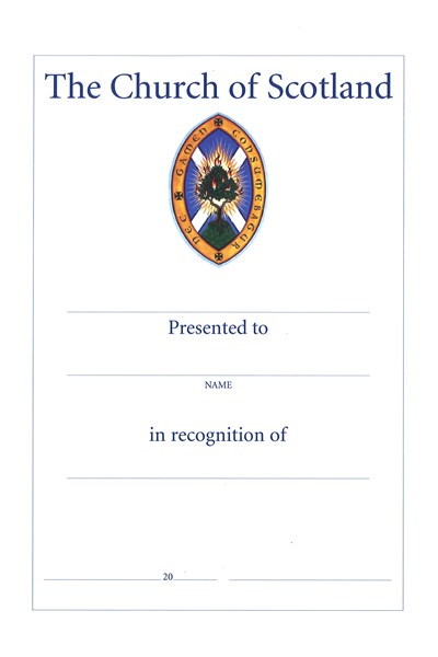 CO06 Recognition of Service Certificate (pack of 10)