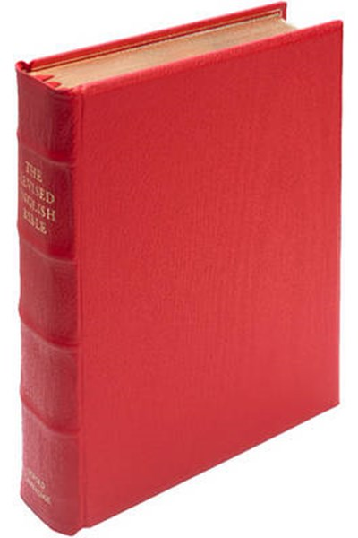 REB Lectern Bible, Red Imitation Leather Over Boards RE932:TBA