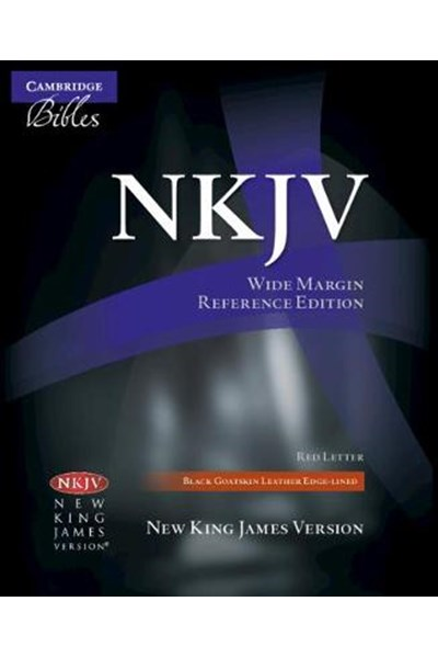 NKJV Wide Margin Reference Edition NK746:XRM Black Goatskin Leather