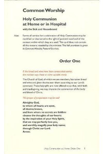 Common Worship: Holy Communion at Home/Hospital Order One Card (Contemporary language)