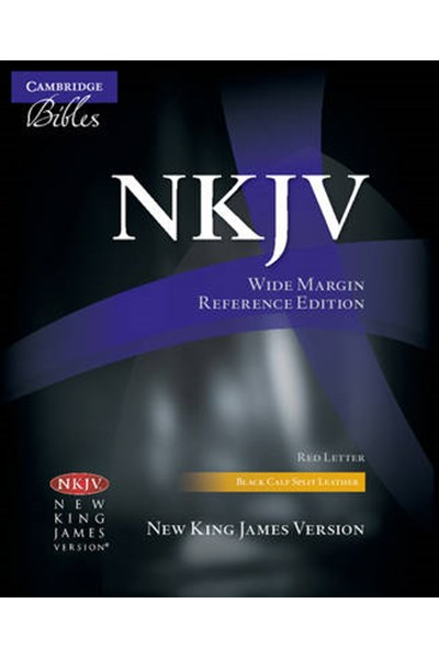 NKJV Wide Margin Reference Bible, Black Calfsplit Leather, Red Letter Text NK744:XRM