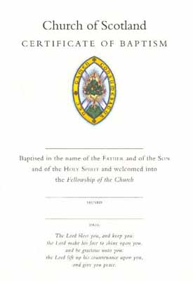 CO07 Certificate of Baptism