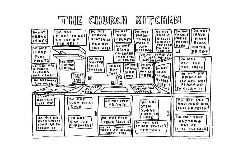 "Dave Walker Tea Towel ""Church Kitchen"""