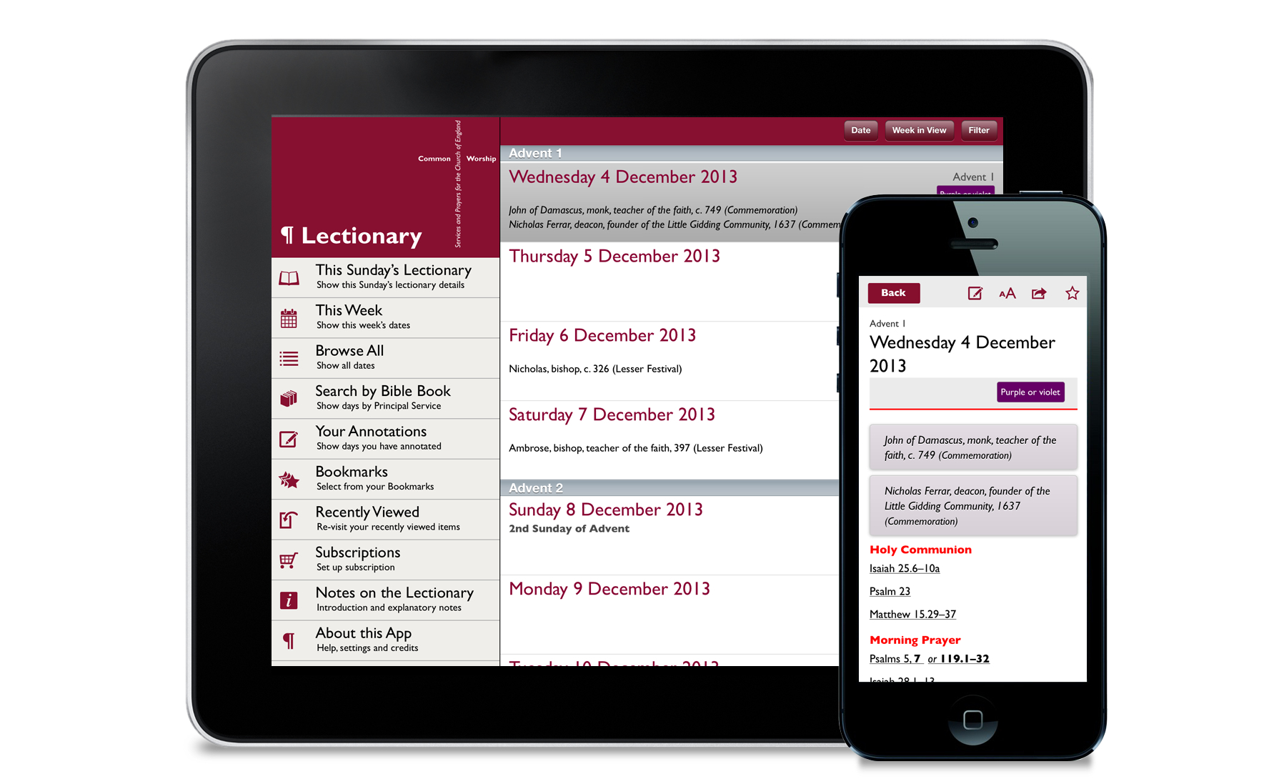 Lectionary app screen